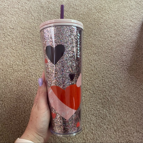 Starbucks glitter heart valentines tumbler cup